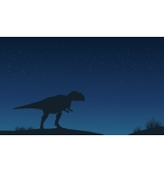 Mapusaurus lonely at night silhouettes vector