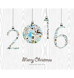 Merry Christmas Happy new year 2016 retro ornament vector image