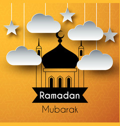 Paper art greeting background for holy month vector