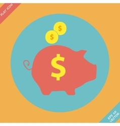 Piggy bank - saving money icon - vector image