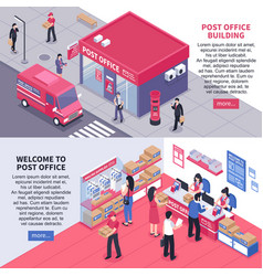 Post office isometric horizontal banners vector