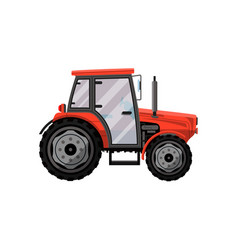 Red wheeled tractor isolated icon vector
