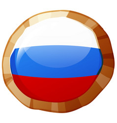 Russia flag on round badge vector