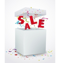 Sale message box with colorful confetti vector