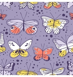 Seamless pattern with butterfly Hand drawn vector image
