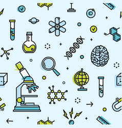 Seamless pattern with scientific laboratory vector