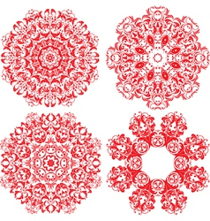 Set of 4 one color round ornaments Lace floral vector image vector image
