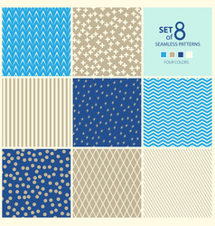Set of eight geometric seamless patterns vector