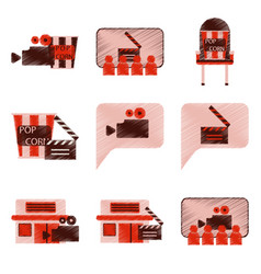 Set of flat icons in shading style cinema vector