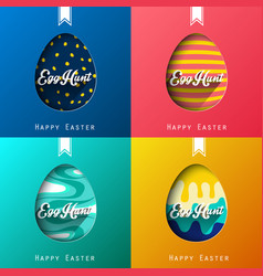Set of four eggs happy colorful easter background vector