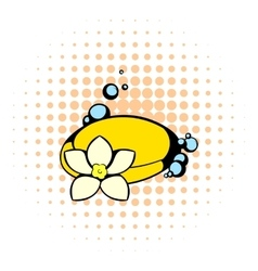 Shell and flower icon comics style vector
