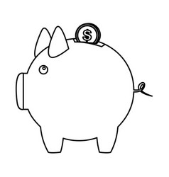 Silhouette piggy bank with dollar coin icon vector