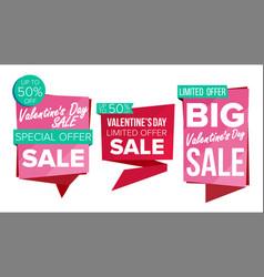 valentine s day sale banner set discount vector image vector image