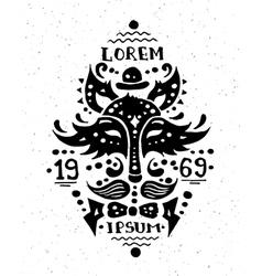 vintage grunge hipster label with vector image