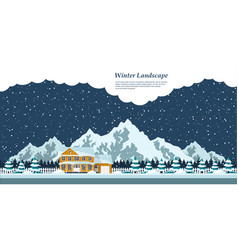 winter house landscape vector image vector image