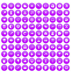 100 research icons set purple vector