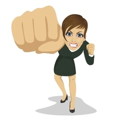 Young angry business woman punching to front vector