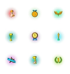 Victory icons set pop-art style vector
