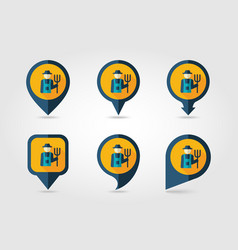 farmers flat mapping pin icon with long shadow vector image