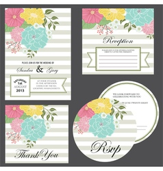 Wedding invitation set vector