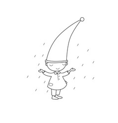 Cute little gnome elf and rain isolated objects vector