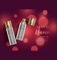 Cosmetic product spray on red bokeh background vector