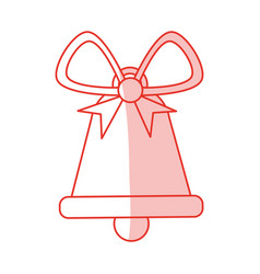 Red shading silhouette of christmas bell with vector