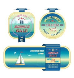 Set of summer sale labels tags stickers banners vector