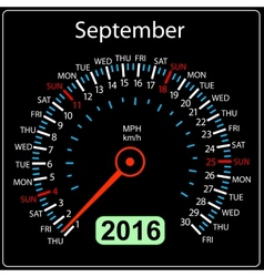 2016 year calendar speedometer car September vector image vector image