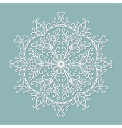 Paper lace doily decorative snowflake round vector