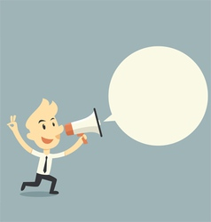 Businessman holding megaphone with bubble speech vector