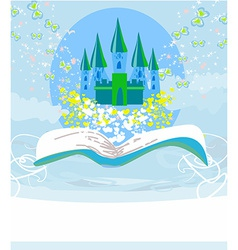 Magic world of tales fairy castle appearing from vector