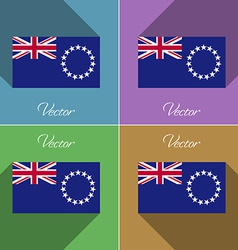 Flags cook islands set of colors flat design and vector