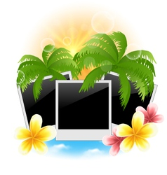 Set photo frame with palms flowers frangipani vector