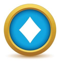 Gold diamonds card icon vector