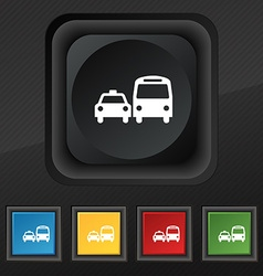 Taxi icon symbol set of five colorful stylish vector