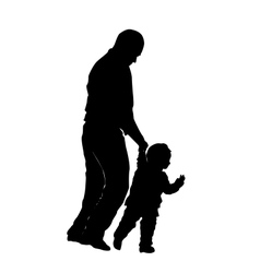 Silhouette of a man and a small child vector