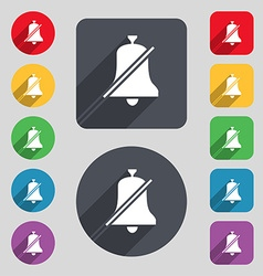 No bell prohibition icon sign a set of 12 colored vector