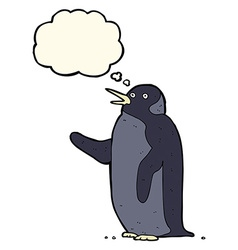 Cartoon penguin waving with thought bubble vector