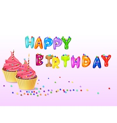 Birthday background with cup cake vector