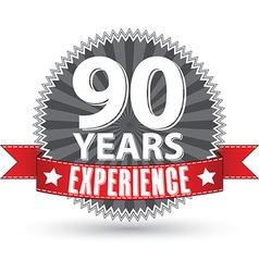 90 years experience retro label with red ribbon vector image vector image
