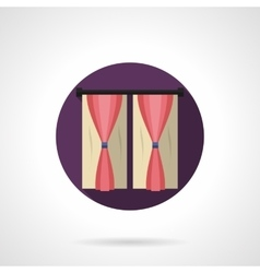 Drapes in interior round flat icon vector