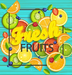 Blue wooden background with tropical fruits vector image