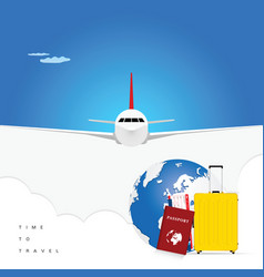 airplane with passport and ticket for background vector image