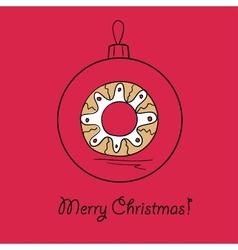 Ball with Christmas wreath vector image
