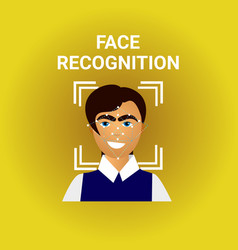 Biometrics scanning face recognition of male icon vector