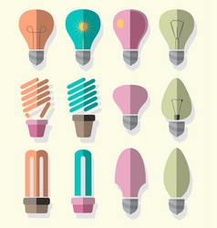 Bulb logo icons set vector