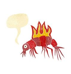 Cartoon hot shrimp with speech bubble vector