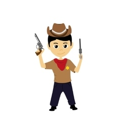 Cartoon of a little cowboy vector