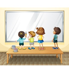 Children painting on the whiteboard vector image